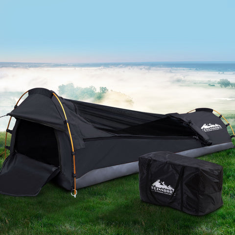 Single Biker Camping Swag - Grey Ripstop Canvas