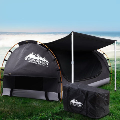 Double Camping Swag - Canvas Free Standing Dome Tent - Dark Grey with 7CM Mattress