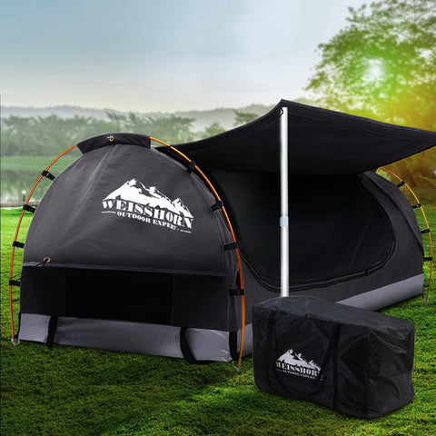 Double Camping Swag Canvas - Free Standing Dome Tent Dark Grey (no mattress)