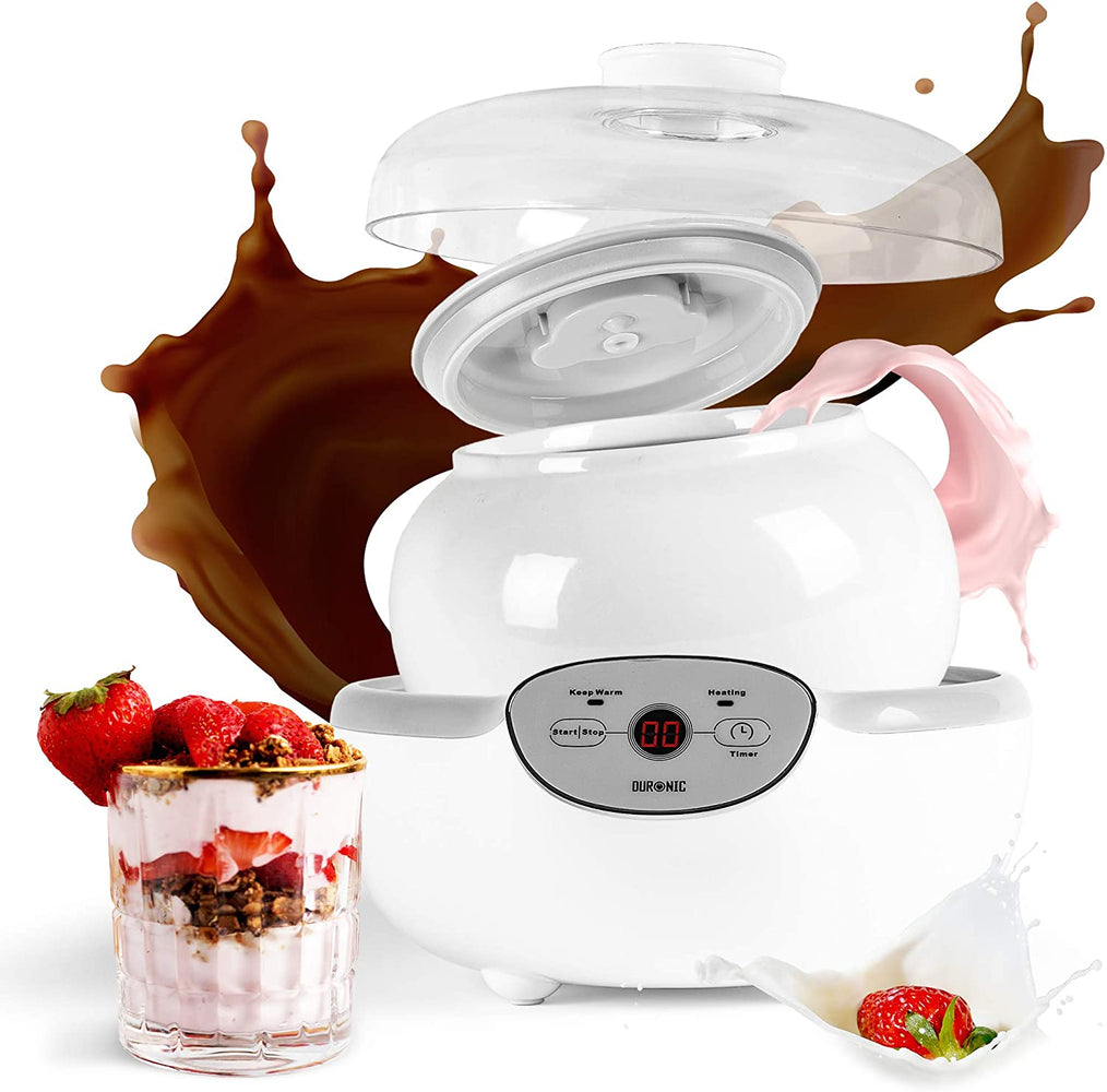 Duronic YM1 Yogurtiera elettrica automatica – 1 vasetto in ceramica da 1.5 l - Macchina per yogurt con display digitale timer impostabile - Ideale per preparare yogurt fatti in casa