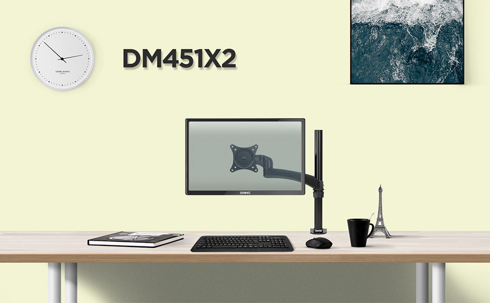 dm451x2, black, desk, mount, bracket, stand, support, riser, arm, double, two, twin, duo, dual, office, computer