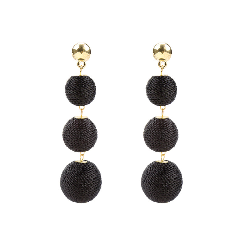 YEHWANG - EARRINGS ROUNDS OF COTTON - BLACK - Styling by Claudia