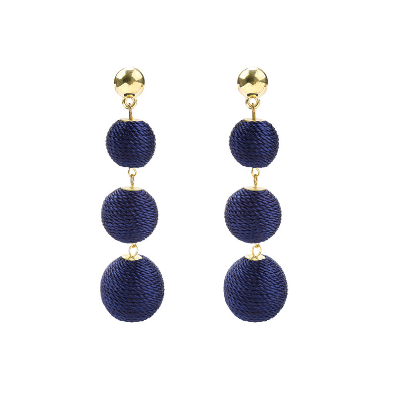 YEHWANG - EARRINGS ROUNDS OF COTTON - BLUE - Styling by Claudia
