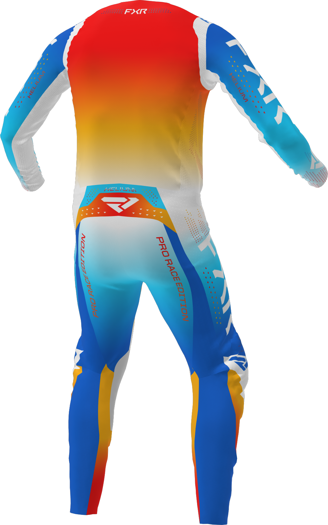 A 3D image of FXR's Helium MX Jersey and Pant 22 in blue / tangerine colorway