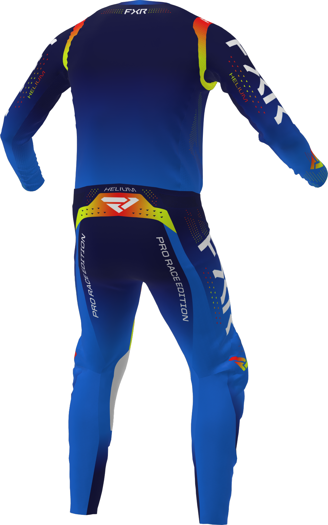 A 3D image of FXR's Helium MX Jersey and Pant 22 in navy inferno colorway