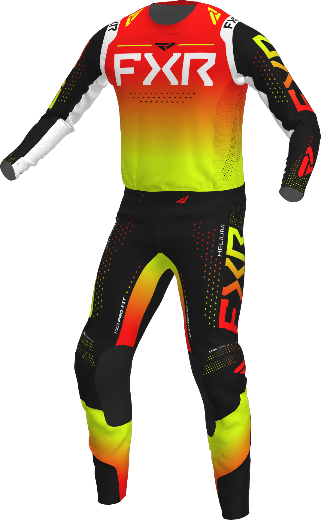 A 3D image of FXR's Helium MX Jersey and Pant 22 in red inferno colorway
