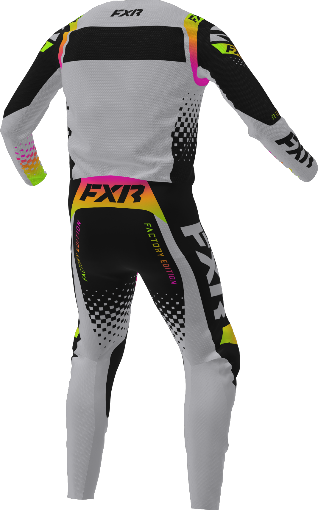 A 3D image of FXR's Youth Pro Stretch Jersey and Pant 22 in grey sherbert colorway