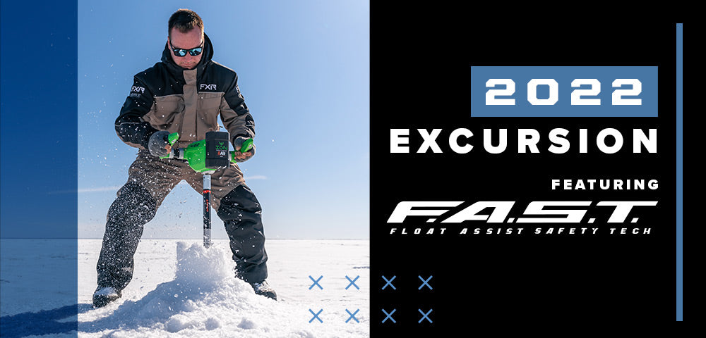 An image of a guy ice fishing, sporting FXR's new 2022 Excursion Monosuit