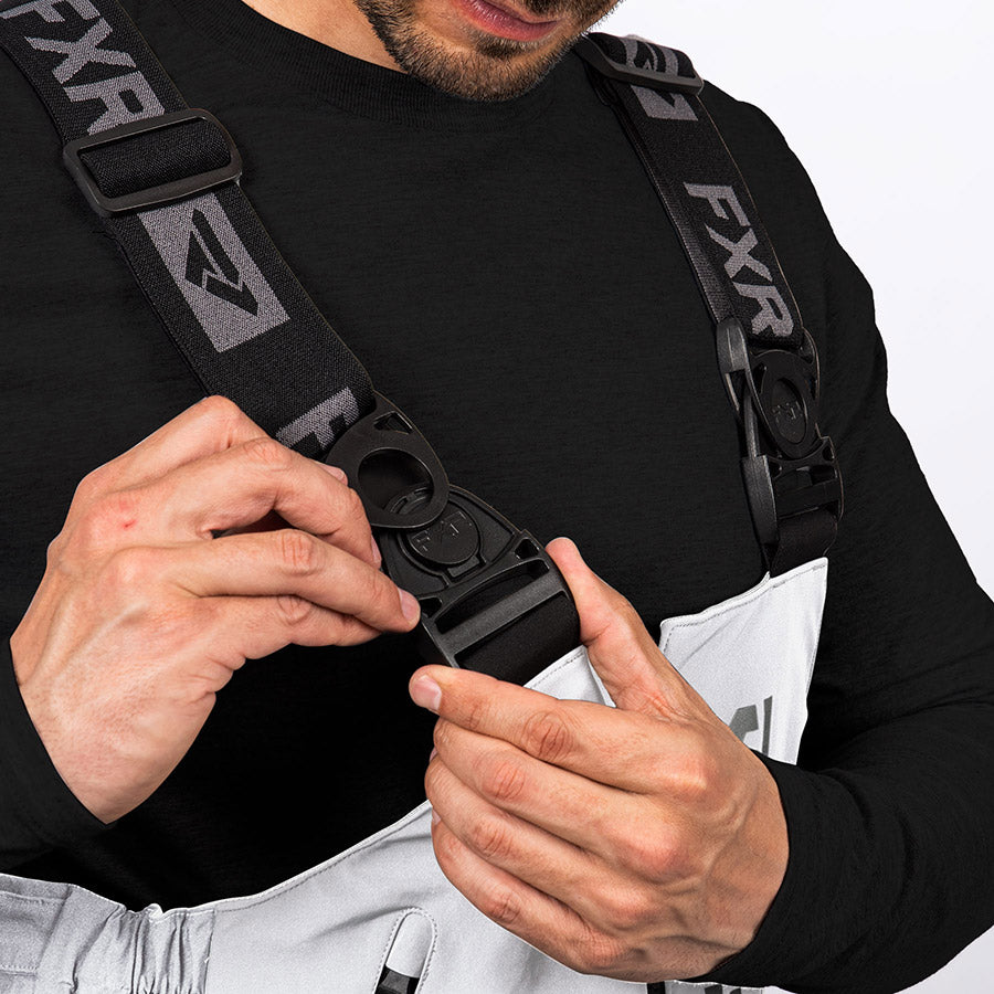 A bigger image showing adjustable suspender with front swivel buckles.