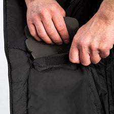 A smaller image showing removable foam knee pads on FXR's Vapor Pro Insulated Bib Pant.