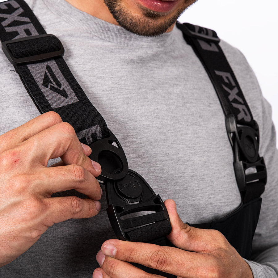 A bigger image of an adjustable suspender with front swivel buckles.