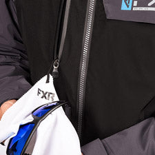 A smaller image showing a white removable microfiber inside a front pocket.