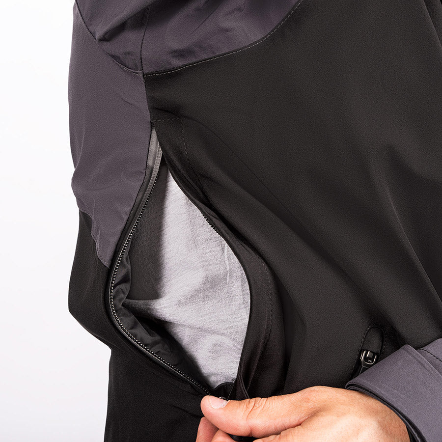 A bigger picture demonstrating a fully open side zipper venting on FXR's Vapor Insulated Jacket.