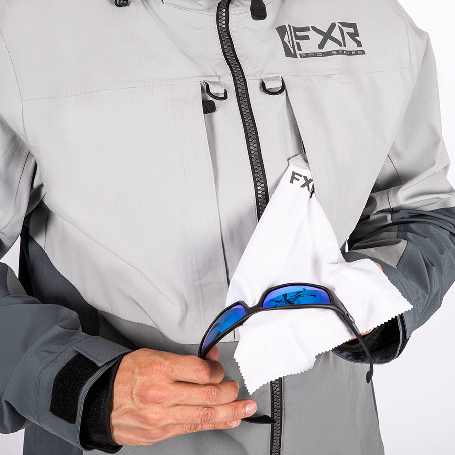 A bigger image showing a white removable microfiber inside a front pocket.
