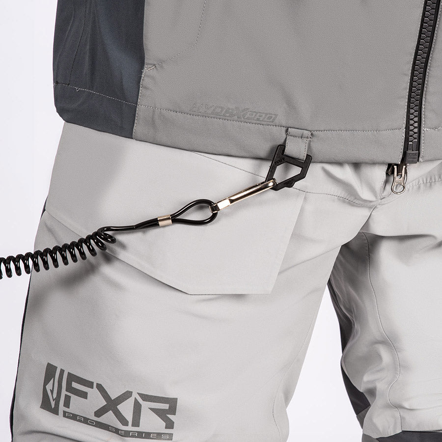A bigger image of a kill cord attached to a tether retention D-ring.