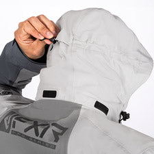 A smaller image of an attached fold-away vented hood with shock-cord adjustable front and back.