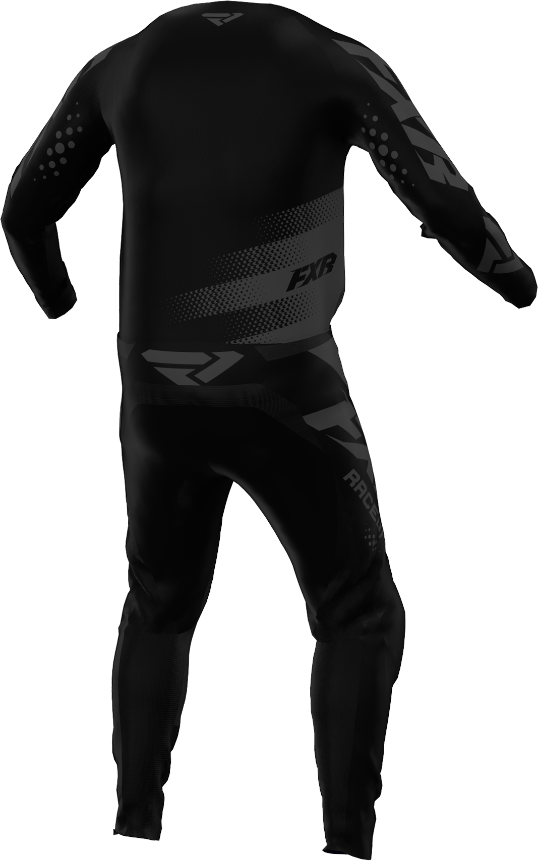 A 3D image of FXR's Clutch MX Jersey and Pant 22 in Black Ops colorway