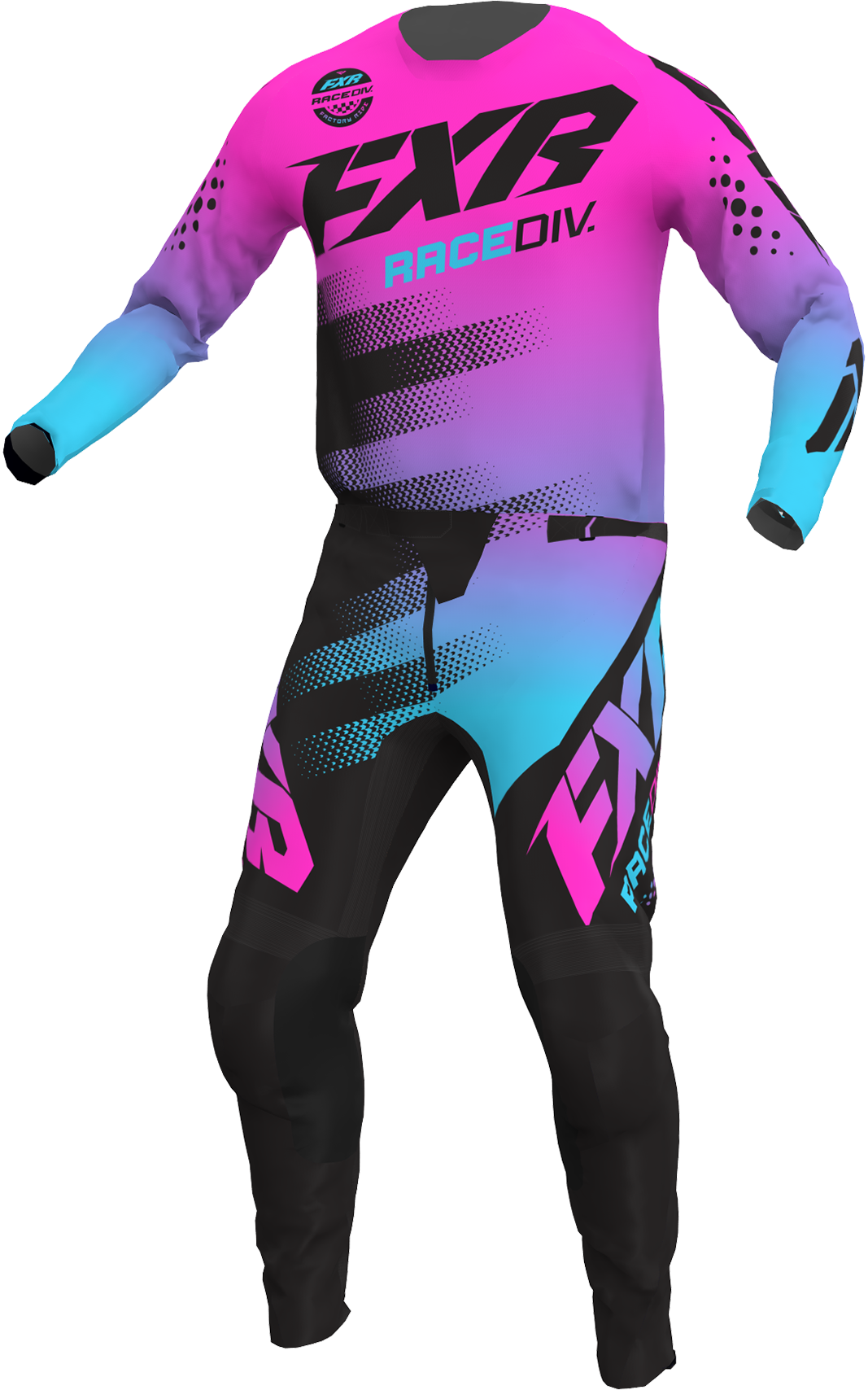 A 3D image of FXR's Clutch MX Jersey and Pant 22 in E-Pink / Sky Blue / Black colorway