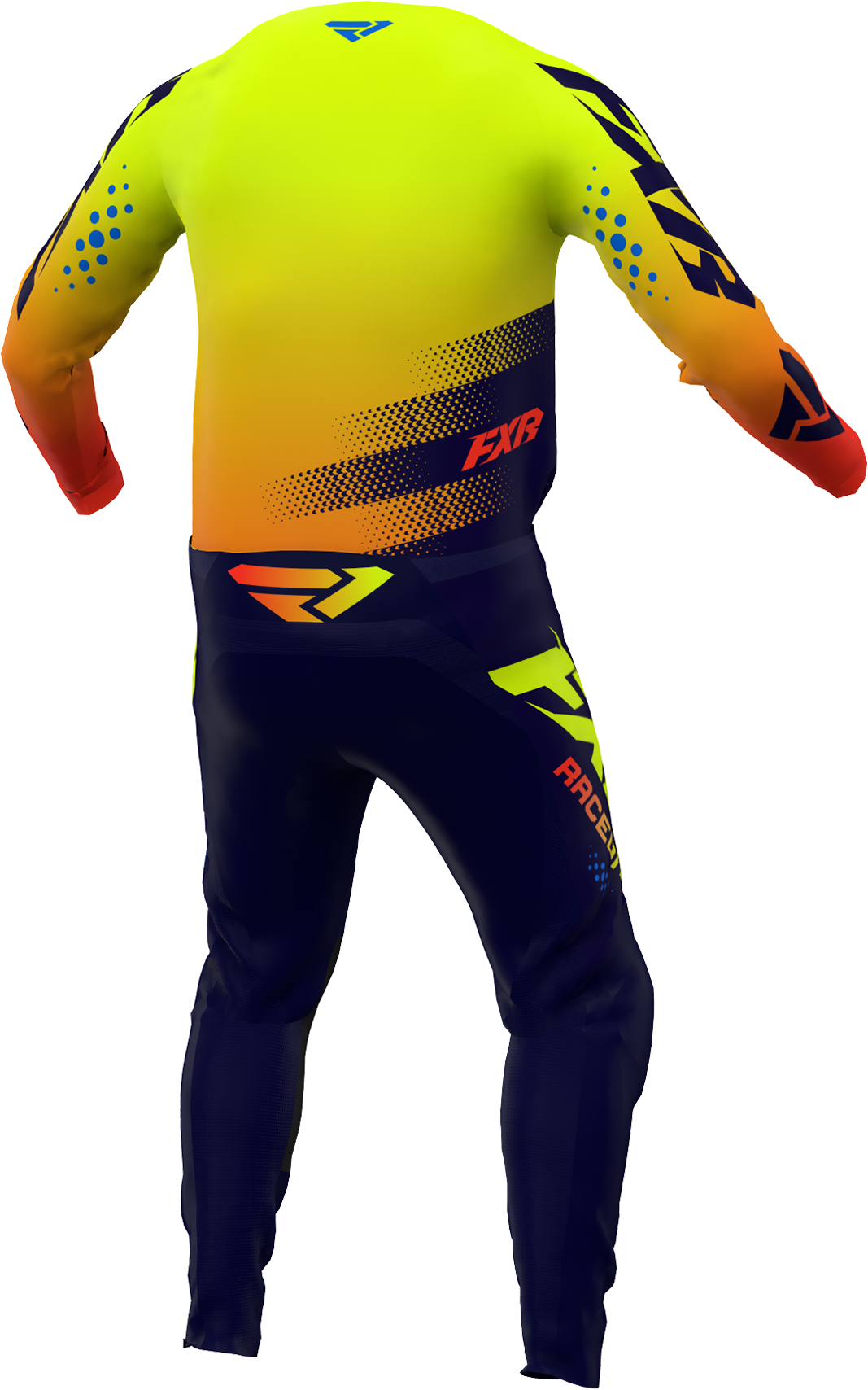 A 3D image of FXR's Clutch MX Jersey and Pant 22 in Midnight / Hivis / Nuke Red