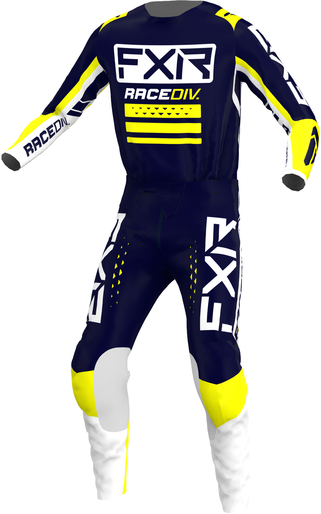 A 3D image of FXR's Clutch Pro MX Jersey and Pant 22 in Midnight / White / Yellow colorway