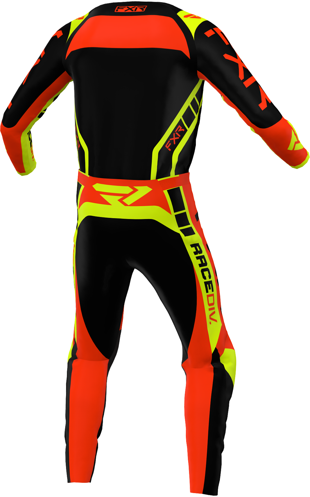 A 3D image of FXR's Clutch Pro MX Jersey and Pant 22 in Black / Nuke Red / Hivis colorway