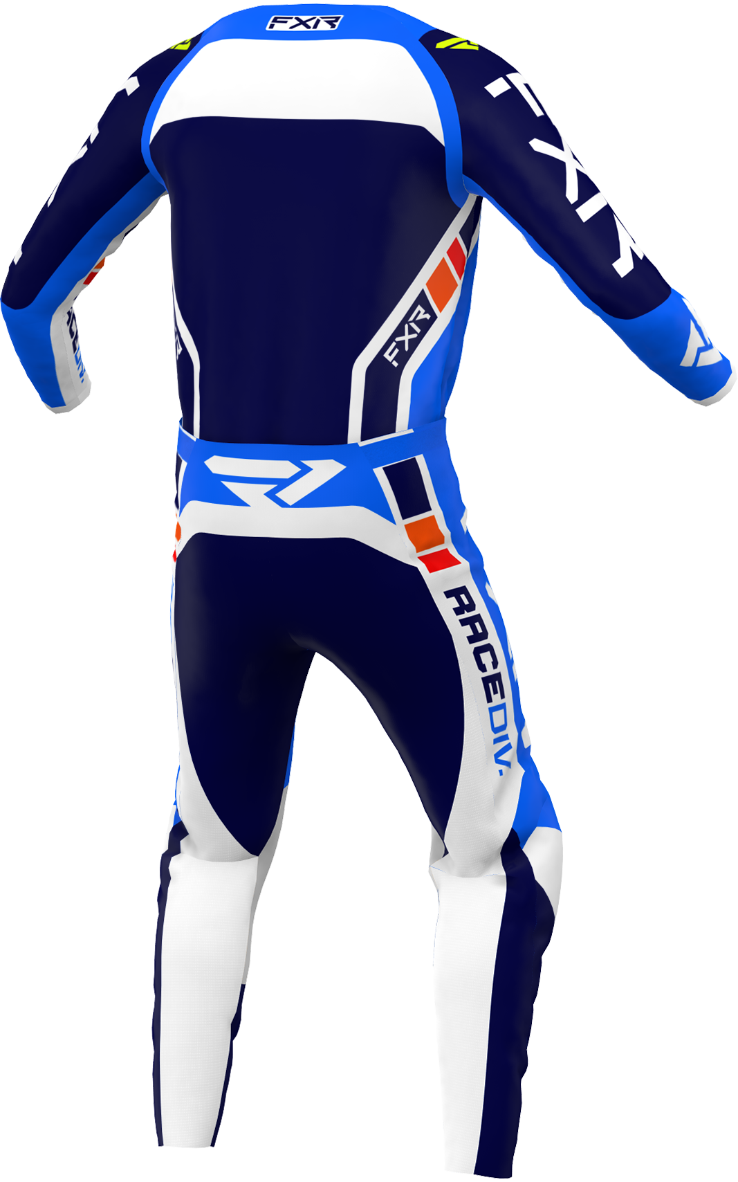 A 3D image of FXR's Clutch Pro MX Jersey and Pant 22 in Cobalt Blue / White / Navy  colorway