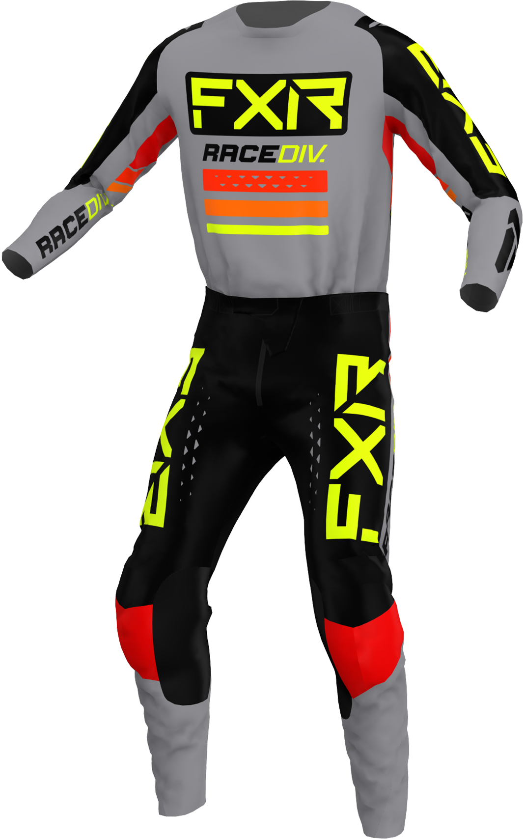 A 3D image of FXR's Clutch Pro MX Jersey and Pant 22 in Grey / Black / Hivis colorway
