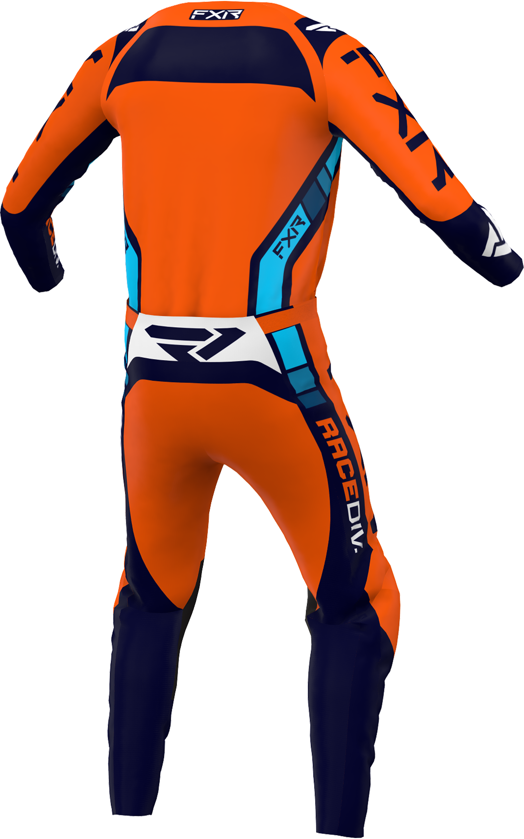 A 3D image of FXR's Clutch Pro MX Jersey and Pant 22 in Orange / Midnight colorway