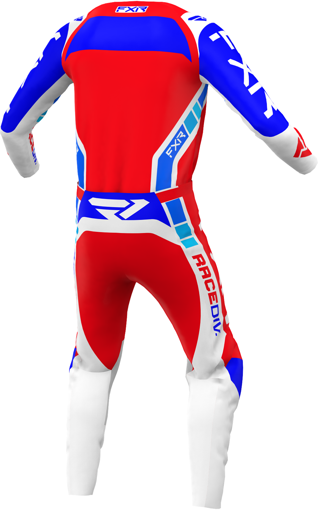 A 3D image of FXR's Clutch Pro MX Jersey and Pant 22 in Red / Royal Blue / White colorway