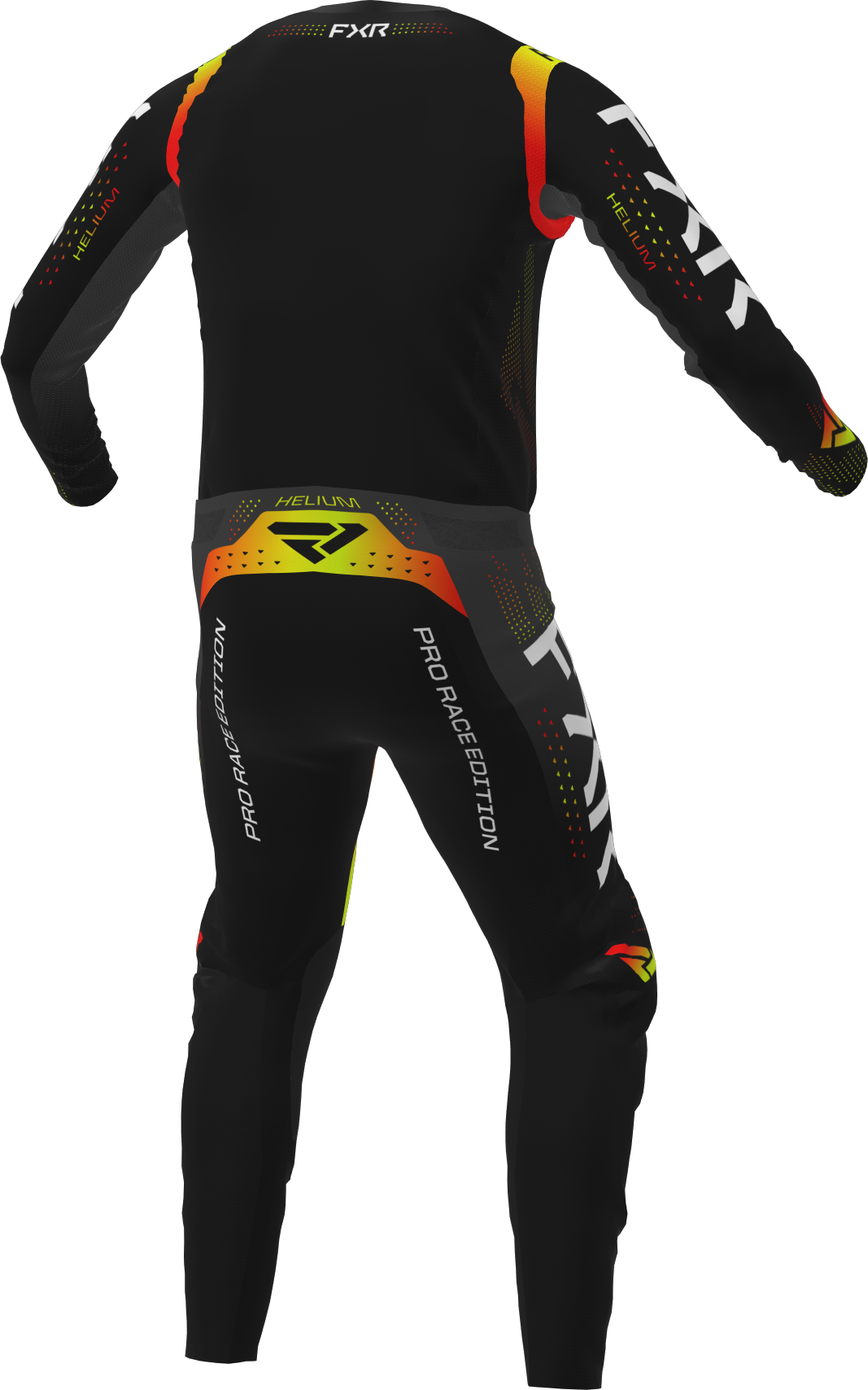 A 3D image of FXR's Helium MX Jersey and Pant 22 in black / inferno colorway