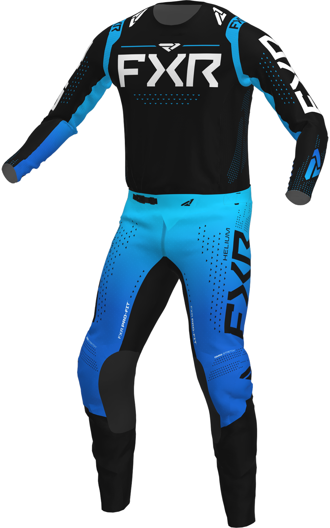 A 3D image of FXR's Helium MX Jersey and Pant 22 in black / sky blue colorway