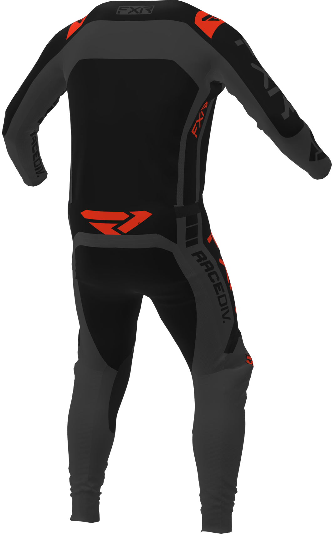 A 3D image of FXR's Off-Road MX Jersey and Pant 22 in black / char / nuke red colorway