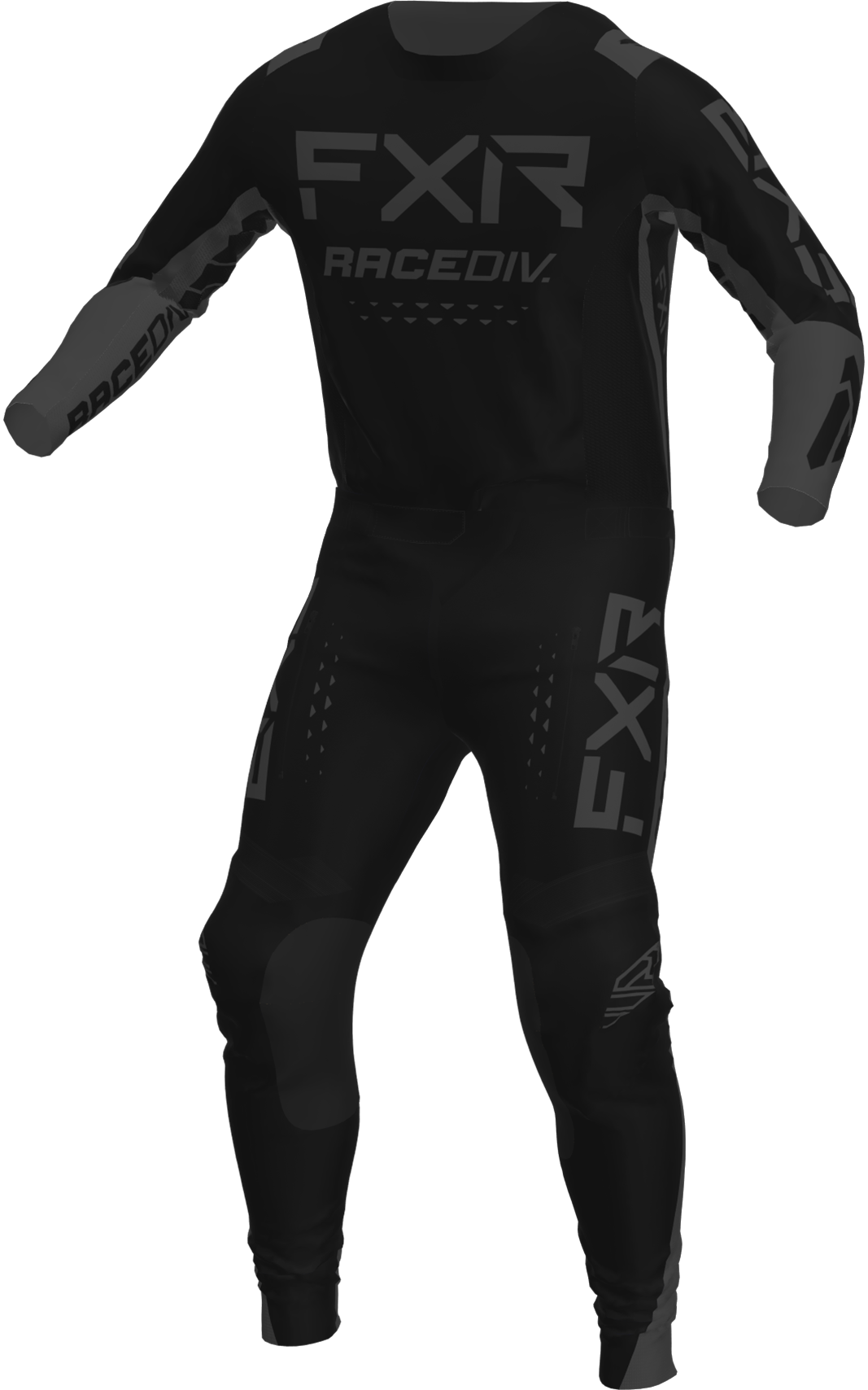 A 3D image of FXR's Off-Road MX Jersey and Pant 22 in black ops colorway