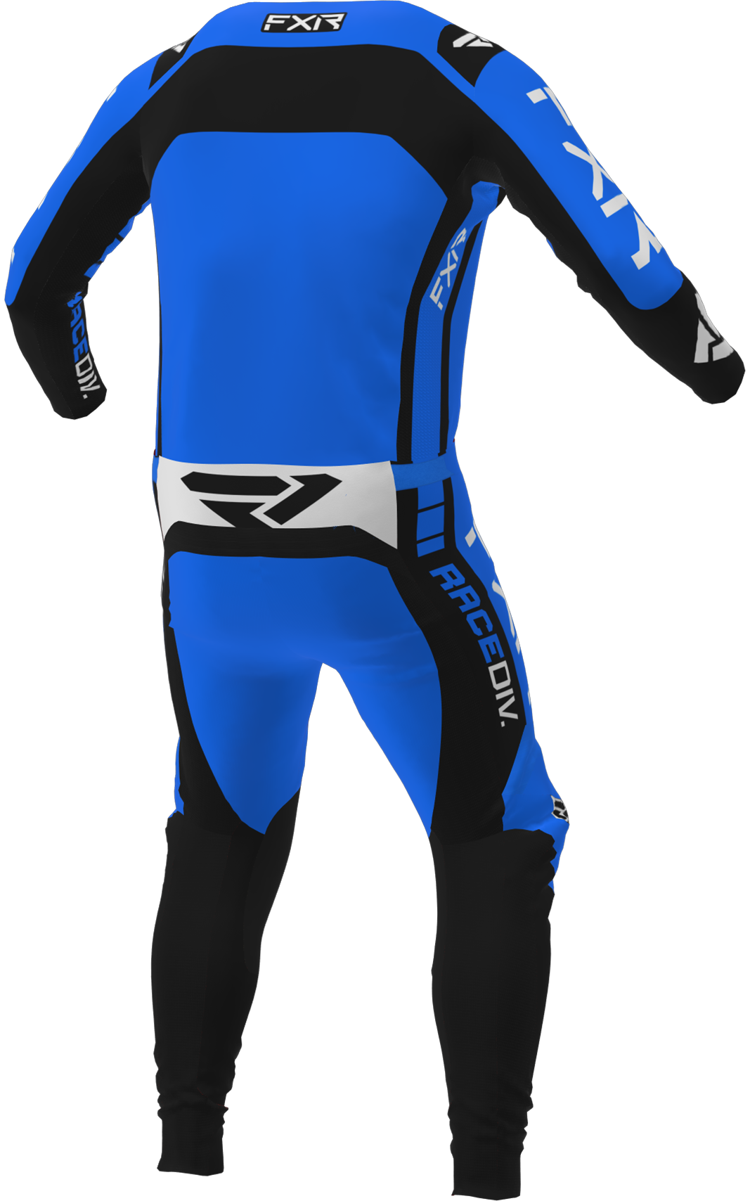 A 3D image of FXR's Off-Road MX Jersey and Pant 22 in blue / black colorway