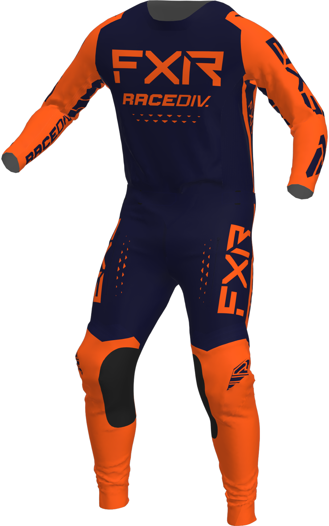 A 3D image of FXR's Off-Road MX Jersey and Pant 22 in midnight / orange colorway