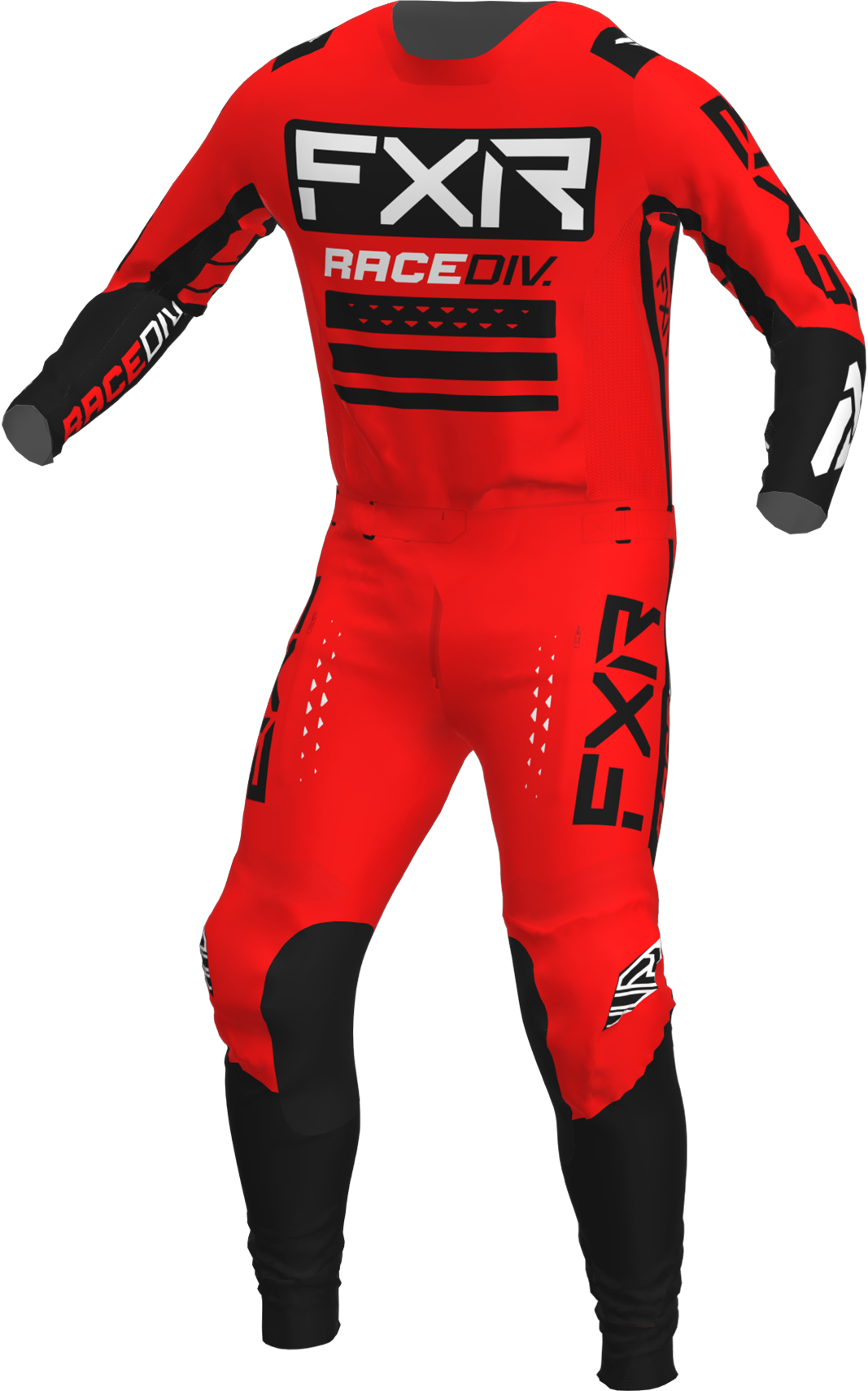 A 3D image of FXR's Off-Road MX Jersey and Pant 22 in red / black colorway