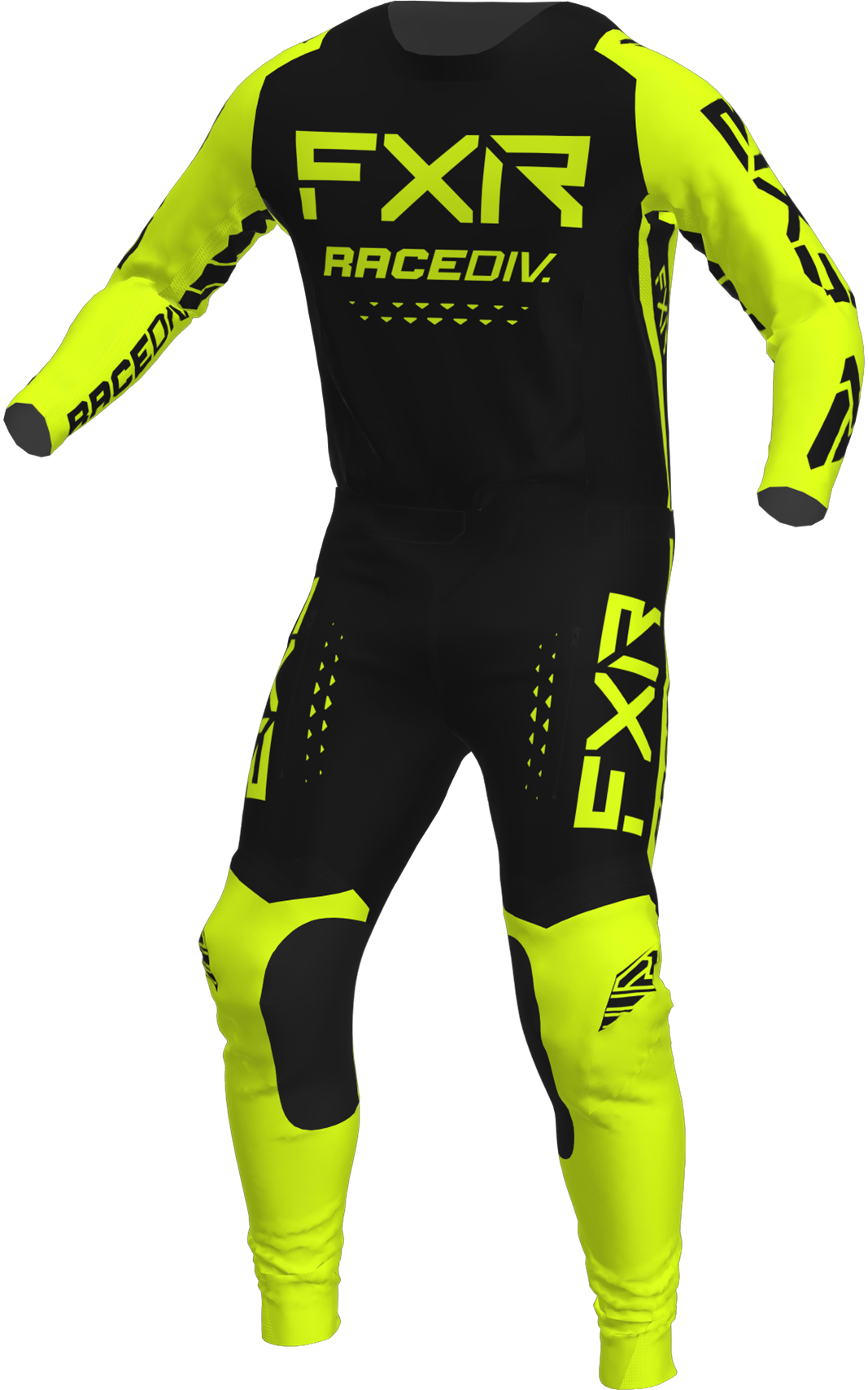 A 3D image of FXR's Off-Road MX Jersey and Pant 22 in black / Hi Vis colorway