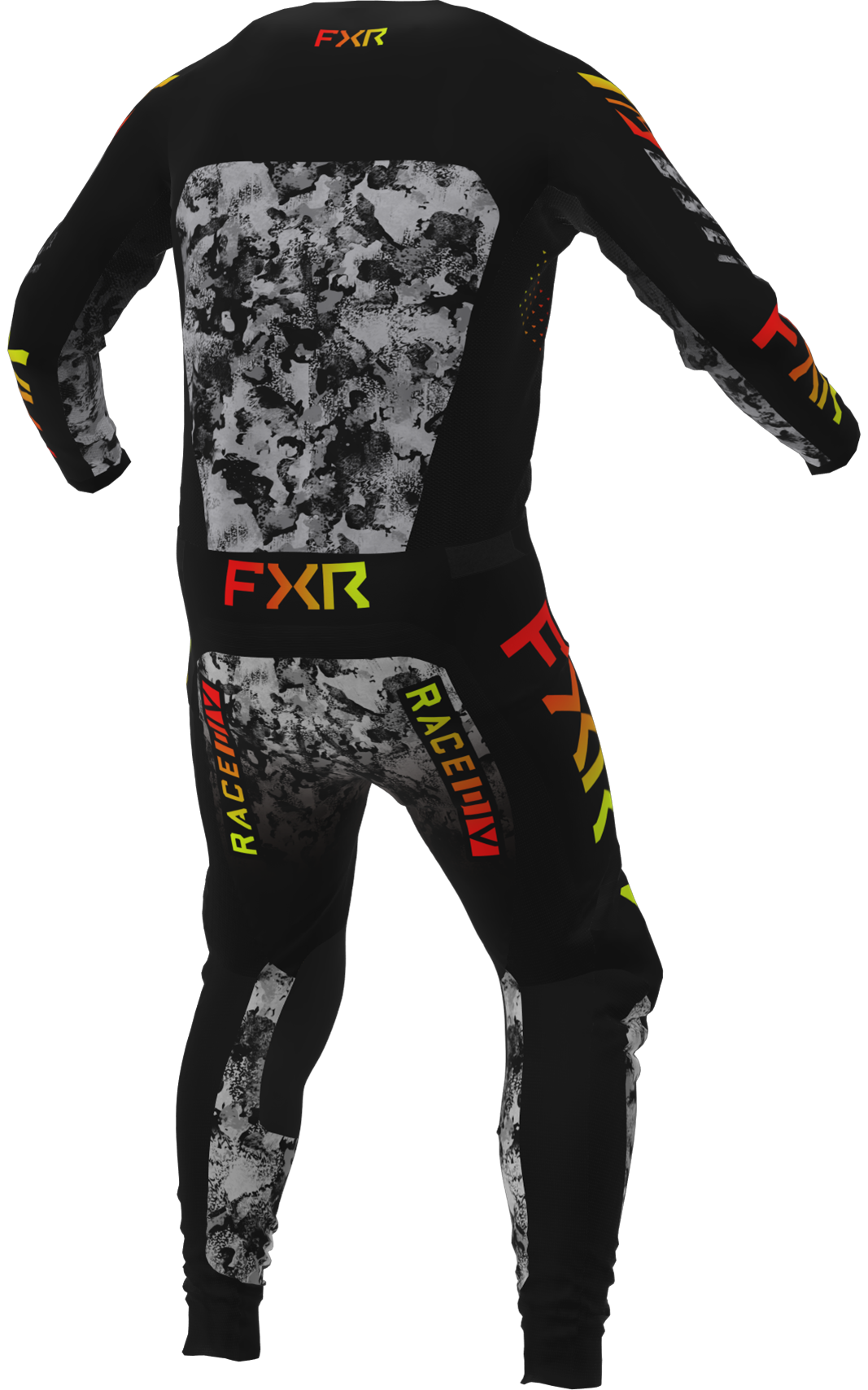 A 3D image of FXR's Podium MX Jersey and Pant 22 in acid inferno colorway