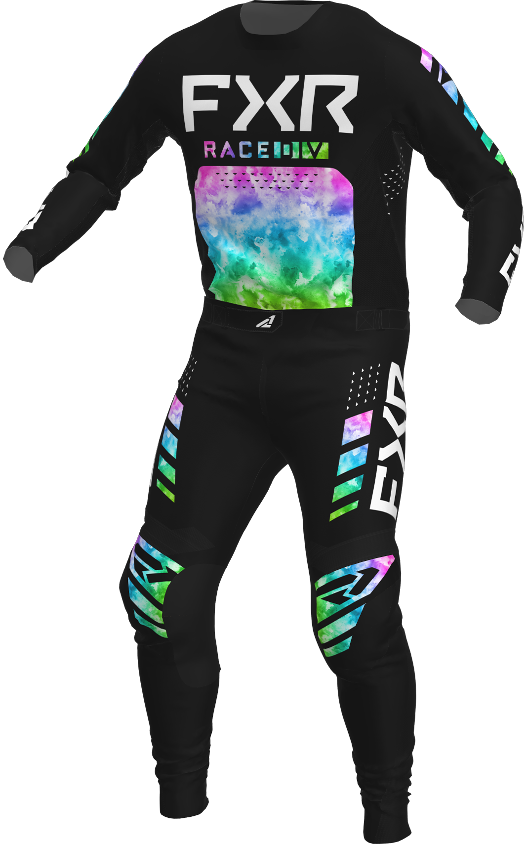 A 3D image of FXR's Podium MX Jersey and Pant 22 in acid rain colorway