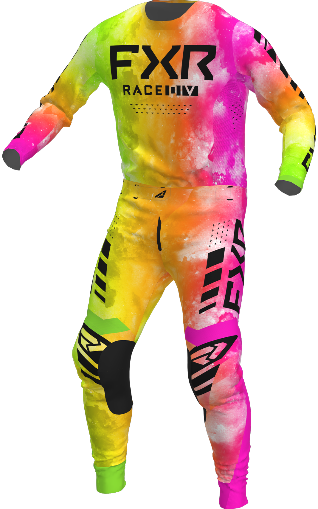 A 3D image of FXR's Podium MX Jersey and Pant 22 in acid sherbert colorway