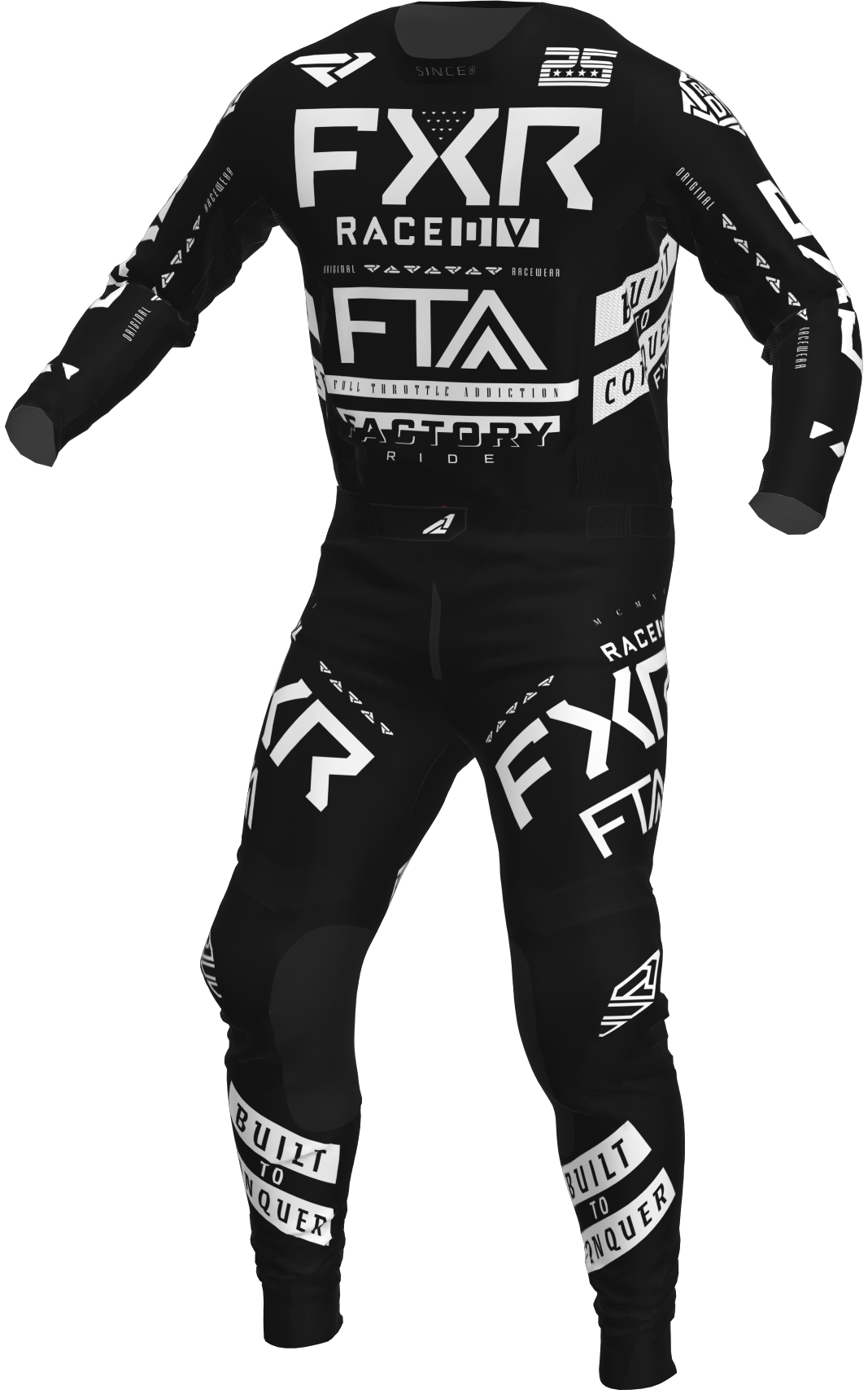 A 3D image of FXR's Podium MX Jersey and Pant 22 in black / white colorway