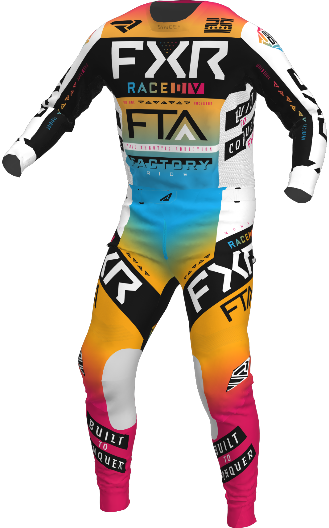 A 3D image of FXR's Podium MX Jersey and Pant 22 in tangerine / raspberry / black / white colorway