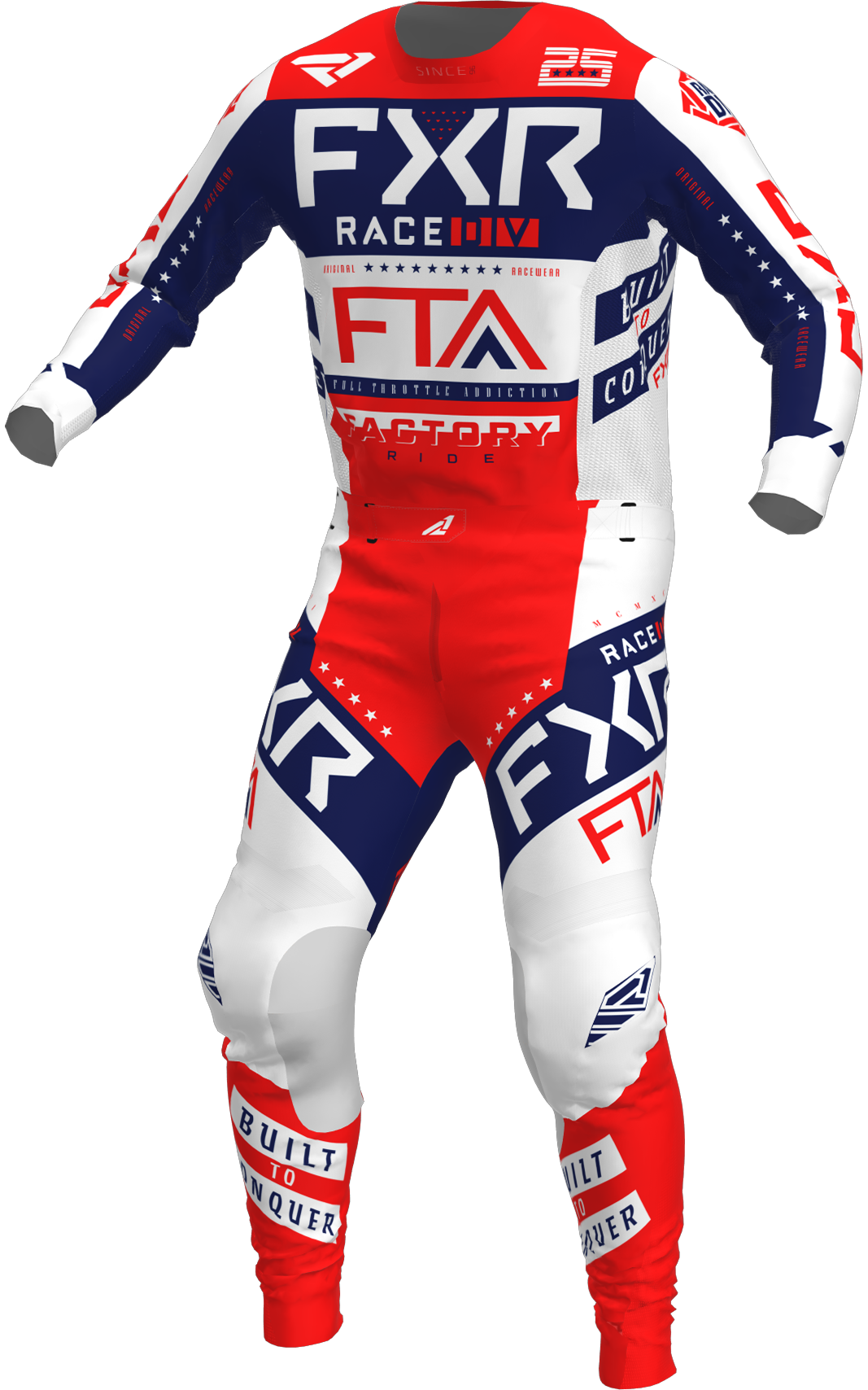 A 3D image of FXR's Podium MX Jersey and Pant 22 in white / red / navy colorway