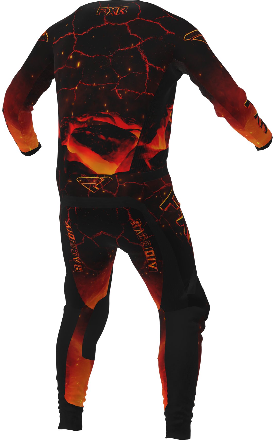 A 3D image of FXR's Podium MX Jersey and Pant 22 in magma colorway