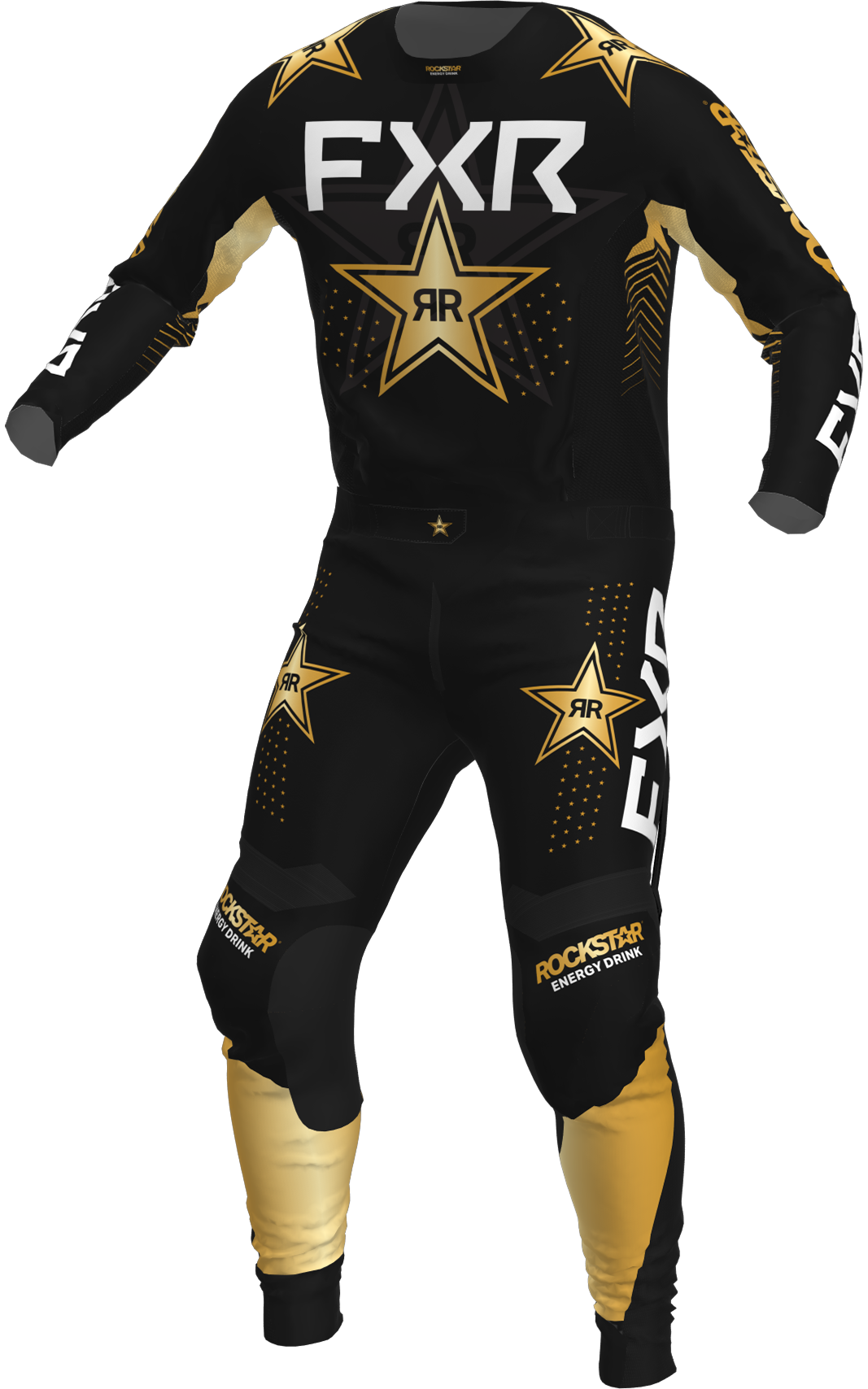 A 3D image of FXR's Podium MX Jersey and Pant 22 in rockstar colorway