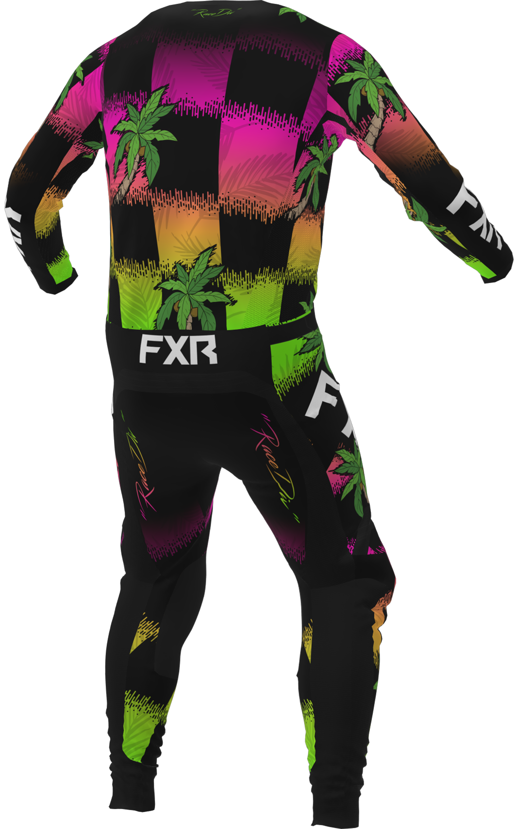 A 3D image of FXR's Podium MX Jersey and Pant 22 in tropic colorway
