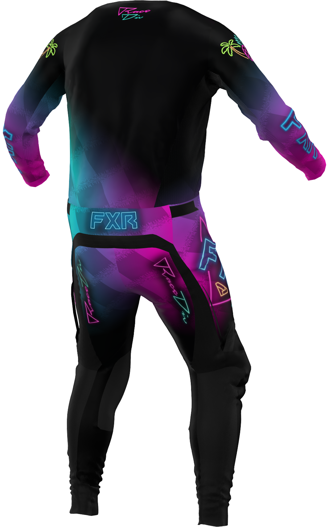 A 3D image of FXR's Podium MX Jersey and Pant 22 in vice colorway