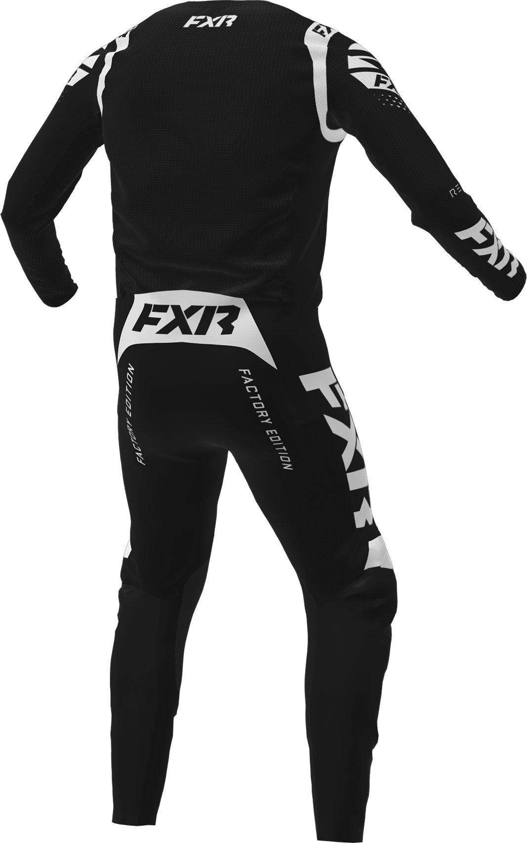 A 3D image of FXR's Revo MX Jersey and Pant 22 in black / white colorway