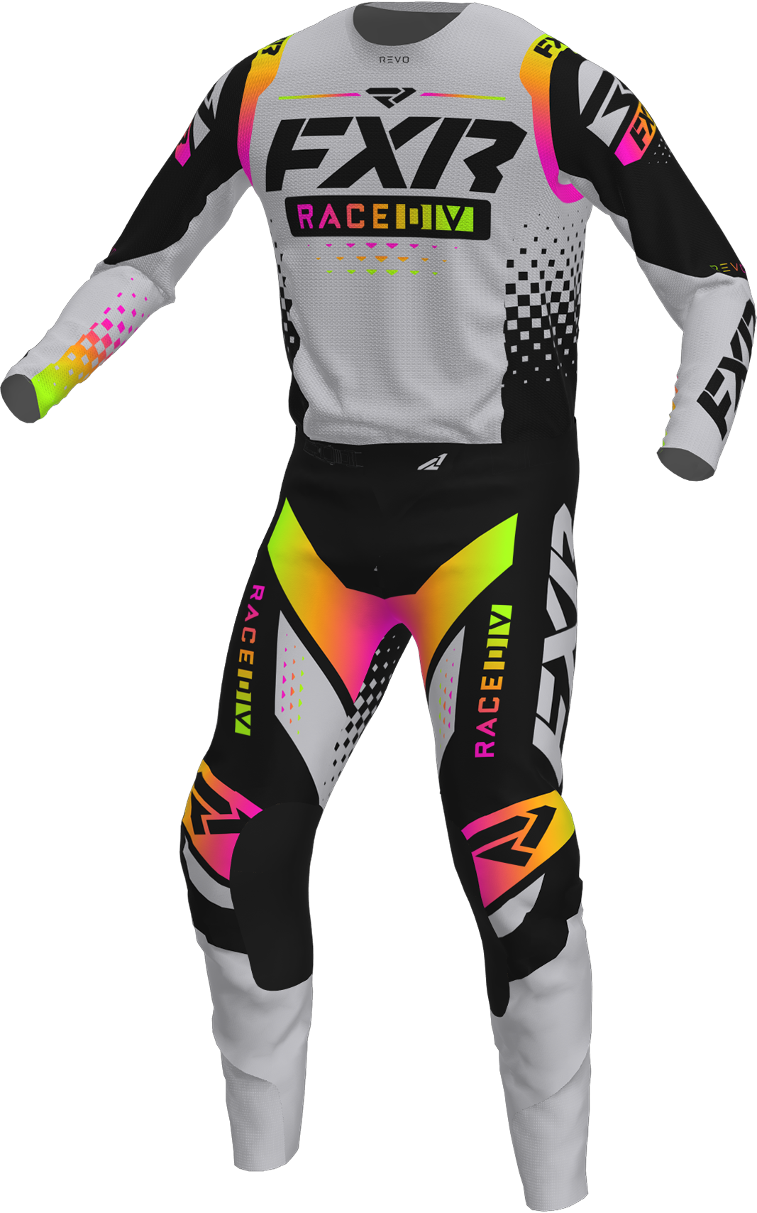 A 3D image of FXR's Revo MX Jersey and Pant 22 in grey sherbert colorway