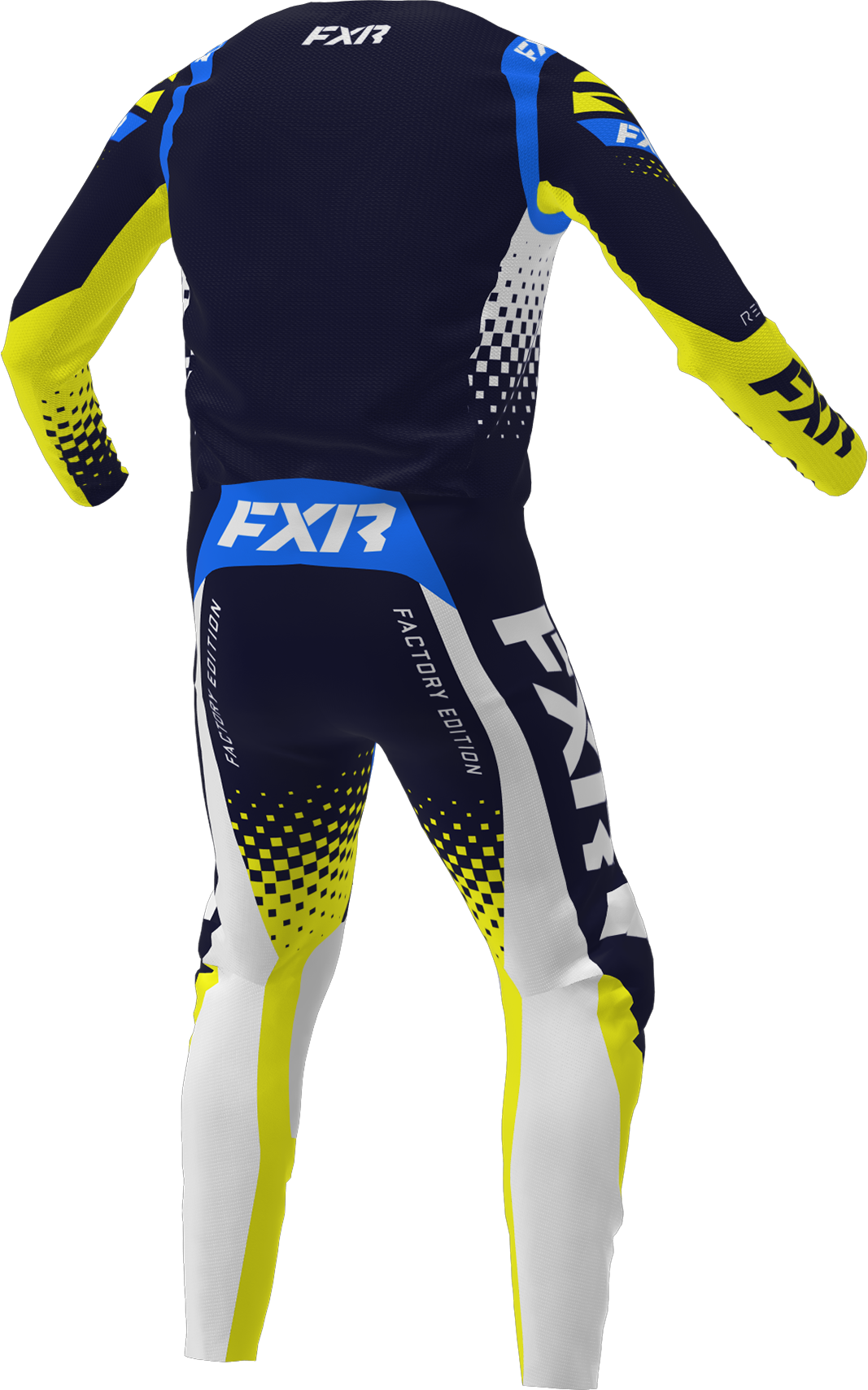 A 3D image of FXR's Revo MX Jersey and Pant 22 in midnight / white / yellow colorway